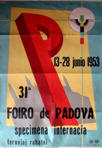 Vintage Esperanto poster from congress in Padova, in 1953