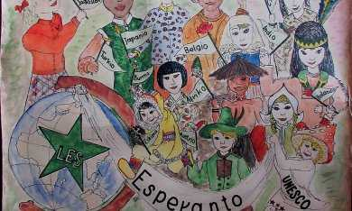 Painted poster showing children of the world communicating using esperanto