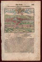 Munster-Cosmographia-Leon-Lyon-Woodcut-Veduta-France-Colored-Antique-Print-City-401250812787