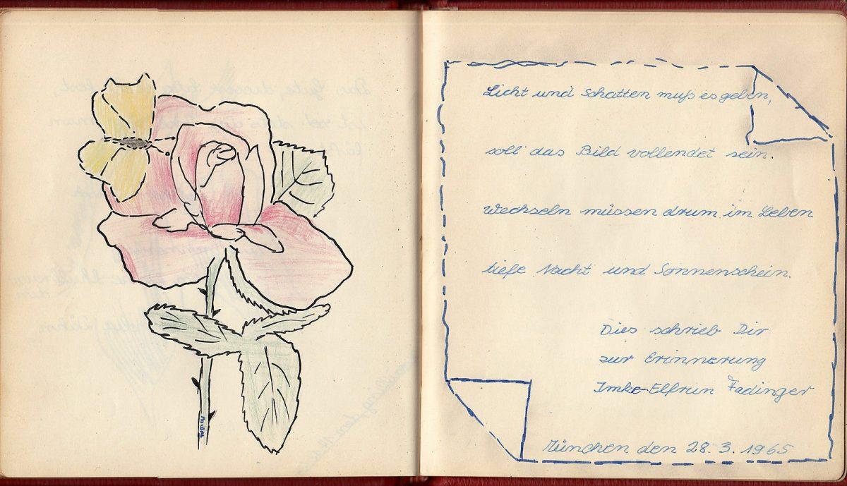 1964 Original Children Album German Drawing Index Poetry